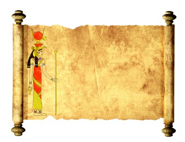 Scroll with Egyptian goddess Isis image