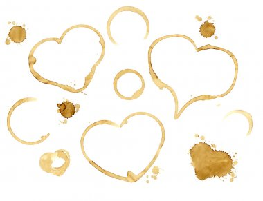 Hearts from coffee drops