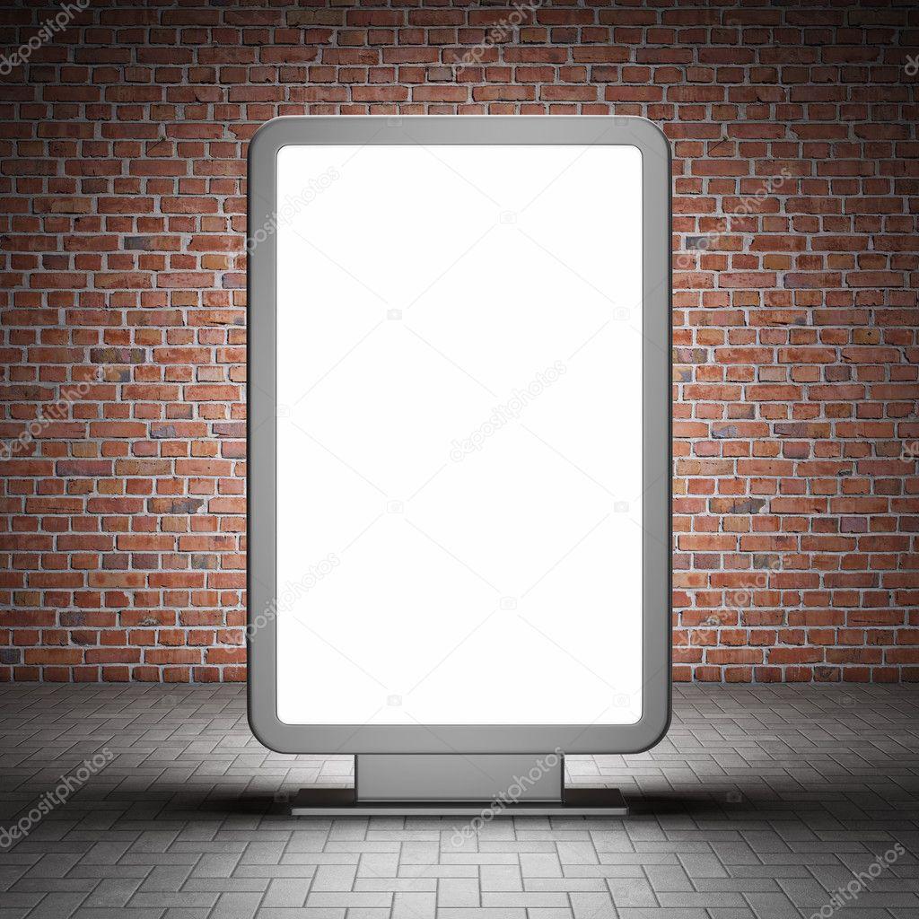 Blank street advertising billboard and brick wall at night stock vector