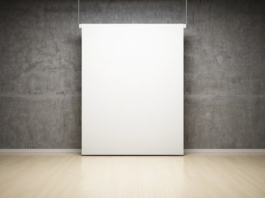 Empty white projection screen in studio