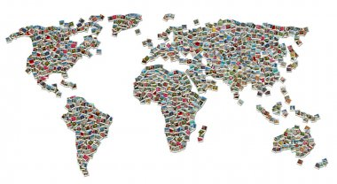 Collage of World Map made of colorful travel photos