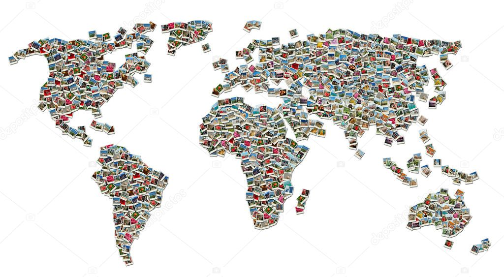 Collage of world map made of colorful travel photos stock photo collage of world map made of colorful travel photos isolated on white background photo by kaetana gumiabroncs