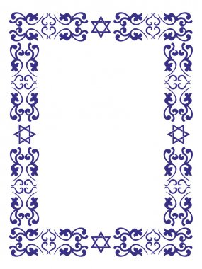 Jewish floral border with David star on white background , vecto