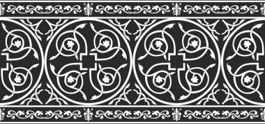 Seamless black-and-white gothic floral vector border