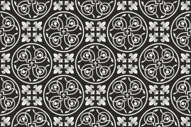 Black-and-white seamless gothic floral pattern with fleur-de-lis