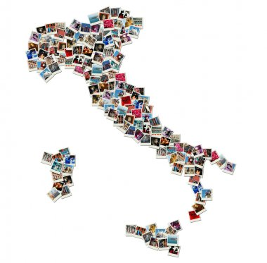 Map of Italy - collage made of travel photos