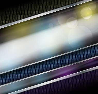 Abstract metallic background with glass banner