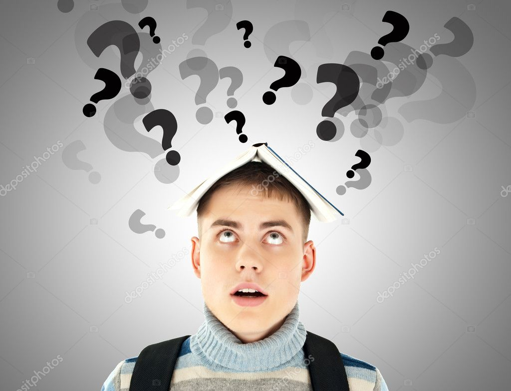 Stressed student with question marks over his head