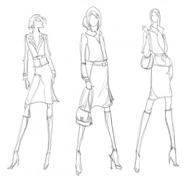 SKETCH. fashion girl. Hand-drawn fashion model