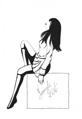 SKETCH. fashion girl. Hand-drawn fashion model