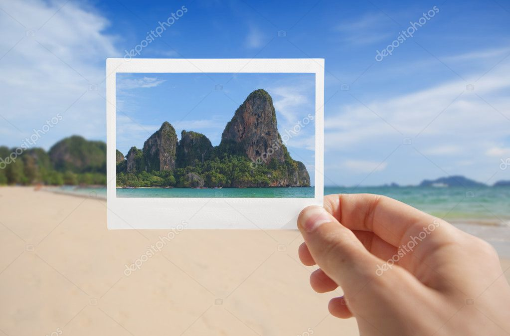 Hand With Photo of Beach