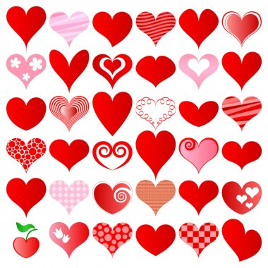 Hearts set for wedding and valentine design stock vector