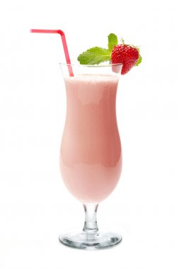 Strawberry milk shake in cocktail glass