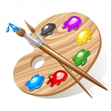 Wooden art palette with paints and brushes stock vector