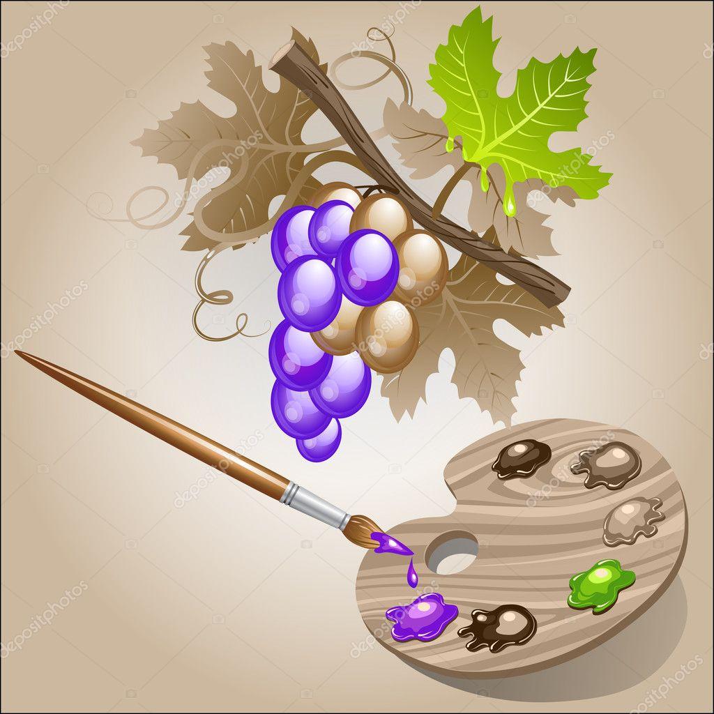 colorear la uva — Vector de stock © Elenita #9353127