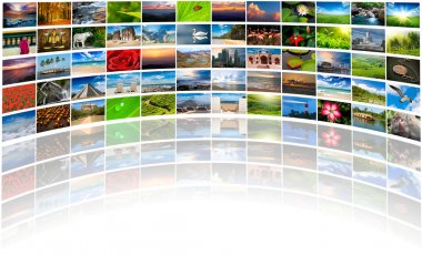 Abstract multimedia background composed of many images with copy