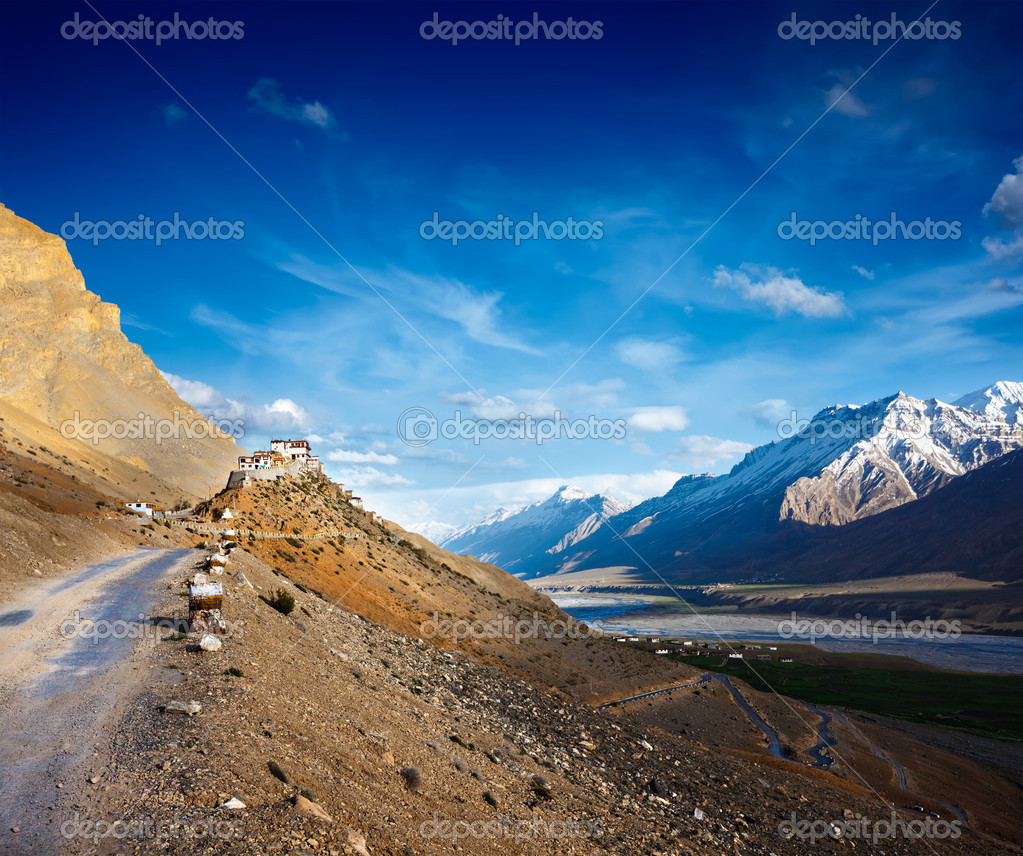 Road to Kee (Ki, Key) Monastery. Spiti Valley, Himachal Pradesh