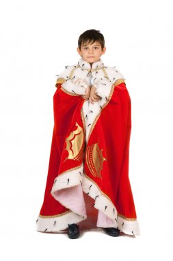 Boy dressed in a robe of King. Isolated