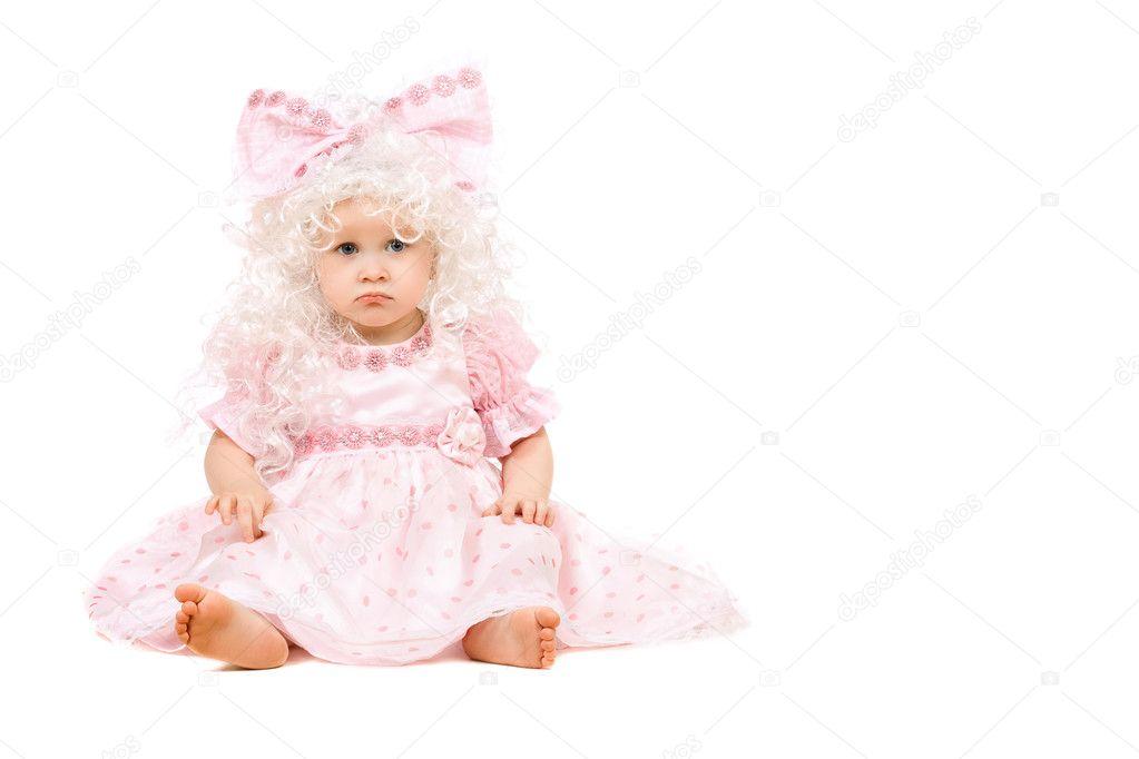 Sad Baby Girl In A Pink Dress  Stock Photo  Acidgrey -5765