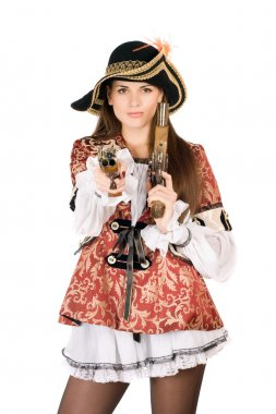 Nice woman with guns dressed as pirates