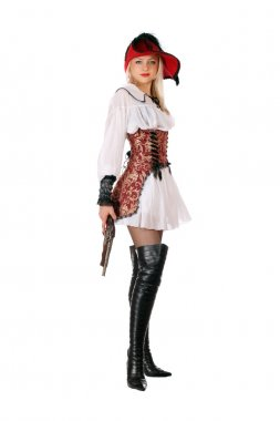 Young attractive blonde with gun