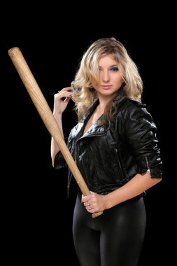 Seductive young blonde with a bat