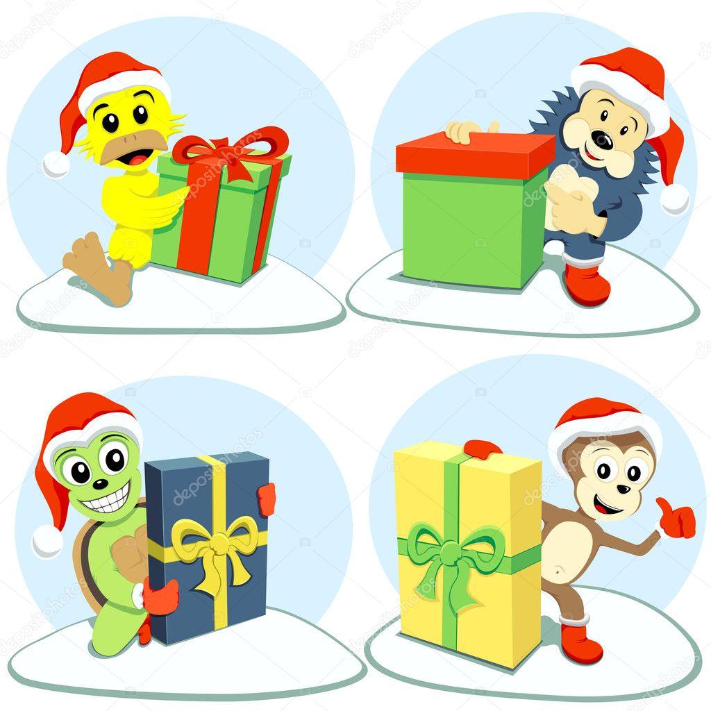 Frohe Weihnachten Cartoon Tiere — Stockvektor © romvo79 #8041838