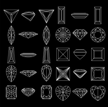 Collection shapes of diamond against black background. Wirefram
