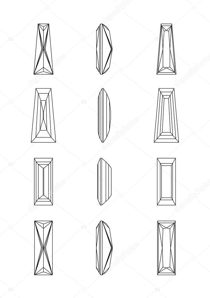 Abbildung Bagette Vektorformen eines Edelsteins. Drahtmodell ...