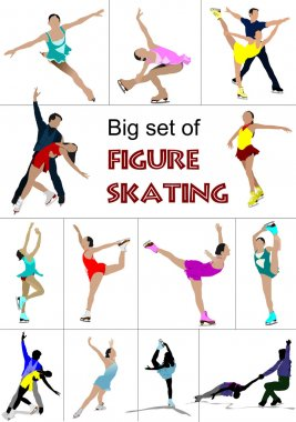 Big set of Figure skating colored silhouettes. Vector illustrati