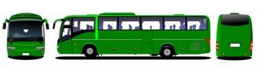 City bus. Tourist coach. Frontal, rear, side view. Vector illust