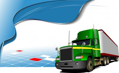 Abstract blue wave background with green lorry on the road. Vect