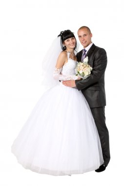 Bride to the bridegroom on a white background