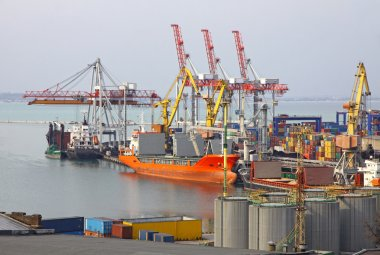 Industrial landscape of Odessa sea port