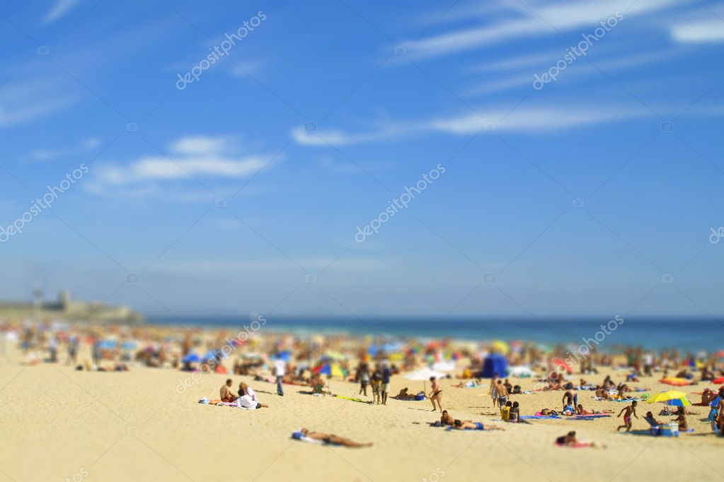 Tilt-shift miniature effect of crowded Atlantic beach