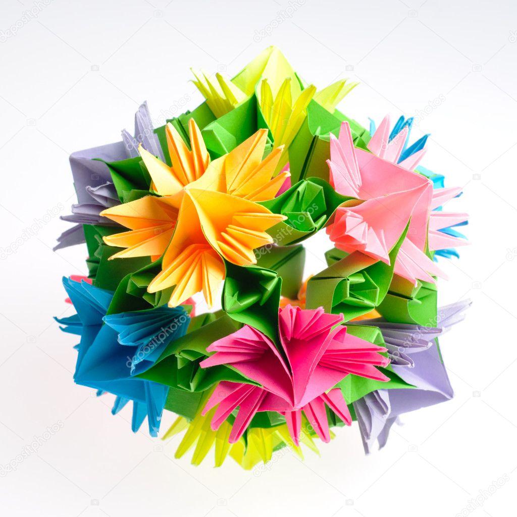 Origami kusudama flower stock photo oksixx 8590000 colorfull origami kusudama from rainbow flowers isolated on white photo by oksixx mightylinksfo Gallery