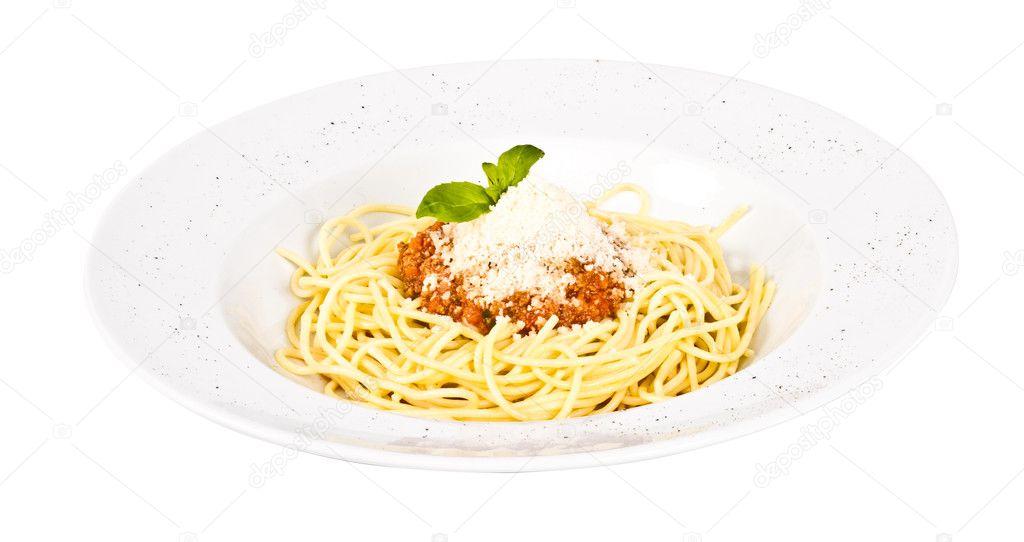 Spaghetti Pasta With Tomato Beef Sauce Stock Photo