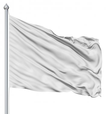 Wavy white textile flag on flagpole