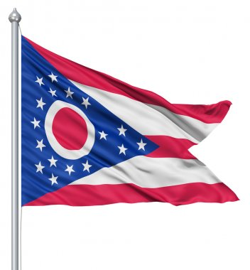Realistic 3d flag of United States of America Ohio fluttering in the wind. stock vector
