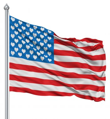 USA national flag waving in the wind with hearts instead of stars stock vector