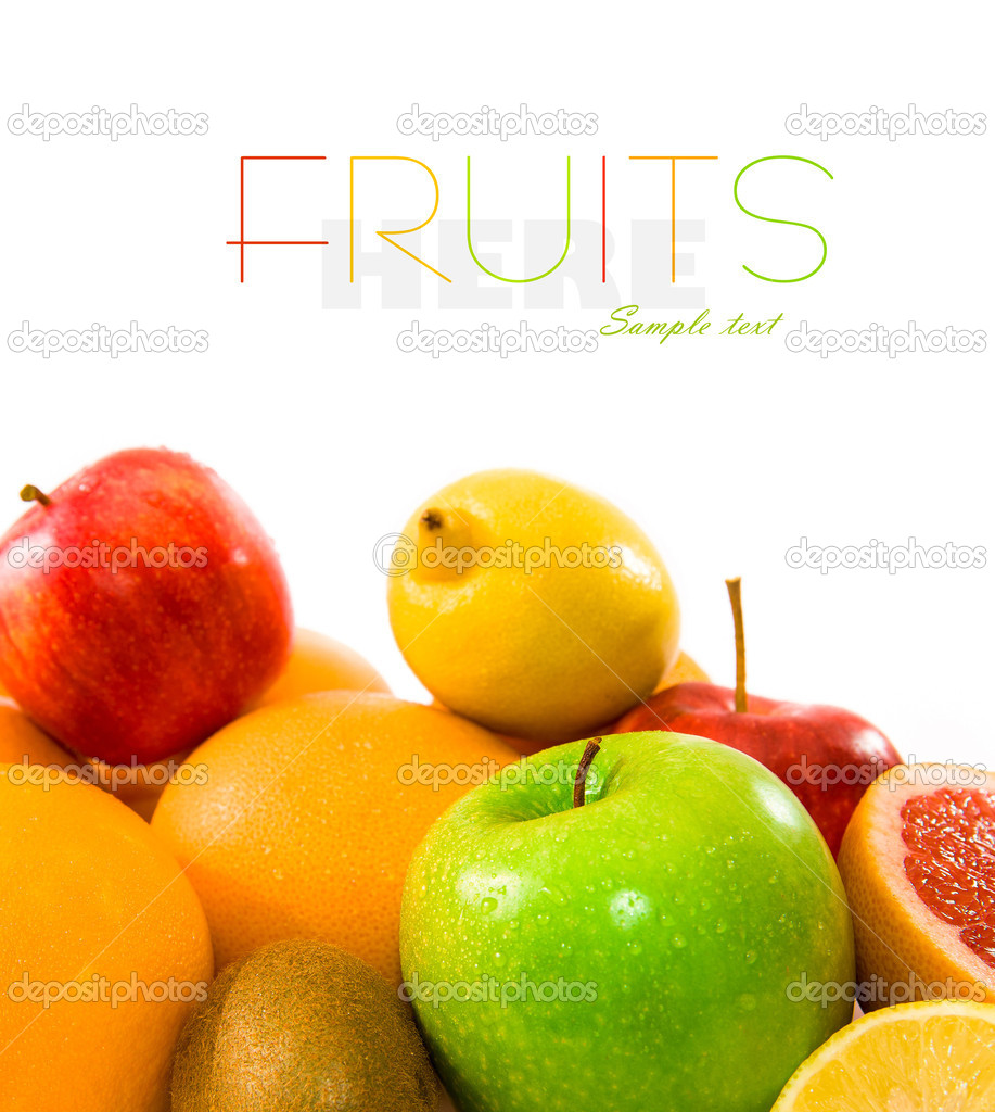 Big assortment of fruits