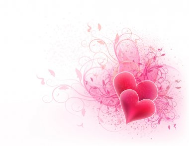 Valentines vector background with floral design and hearts clip art vector