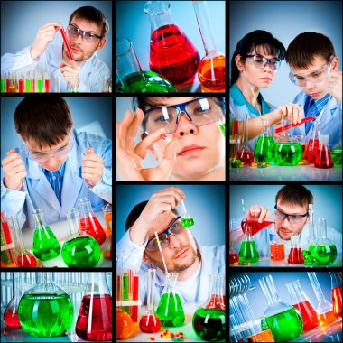 Schoolteacher and student working in the lab stock vector