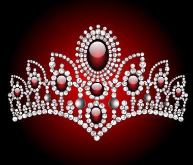 Wedding diadem with red stone