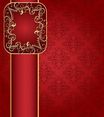 Seamless red background with band and frame with gold(en) patte