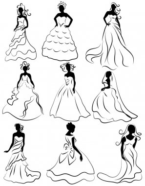 Kit silhouette of the brides in wedding charge