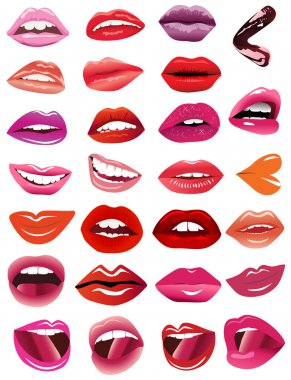 Set feminine lips on white background