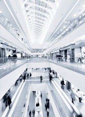 Panoramic view of a modern mall stock vector