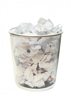 Waste papers in basket