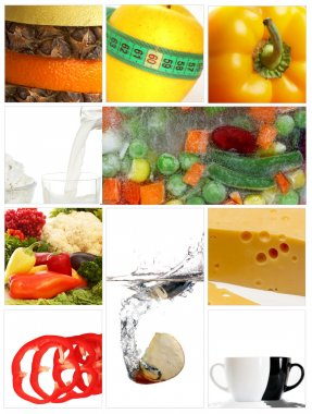 A set of ten images on topic diet stock vector